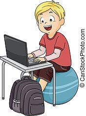 мальчик, мяч, компьютер, упражнение, дитя