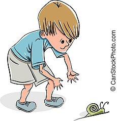 мальчик, немного, привлекательный, snail.