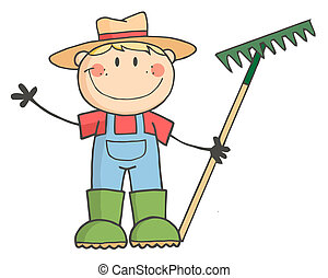 мальчик, фермер, кавказец
