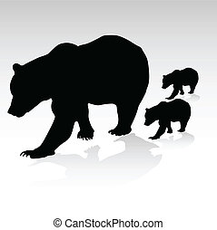 мама, их, вектор, молодой, медведь