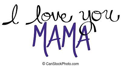 мама, пурпурный, вы, люблю