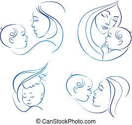 мама, baby., линейный, задавать, illustrations, силуэт