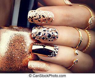 маникюр, яркий, день отдыха, sparkles., стиль, золотой, модный, gems, аксессуары