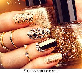 маникюр, nailpolish, sparkles., золотой, модный, gems, бутылка, аксессуары