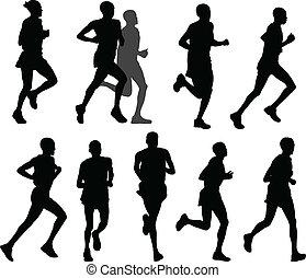 марафон, runners
