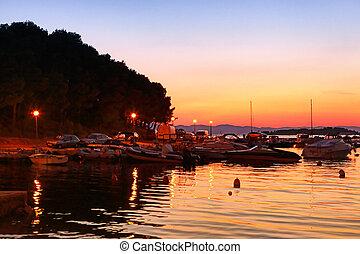 марина, boats, закат солнца, парусный спорт