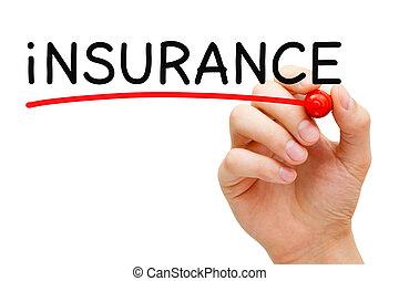 маркер, страхование, красный