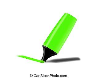 маркер, флуоресцентный, зеленый