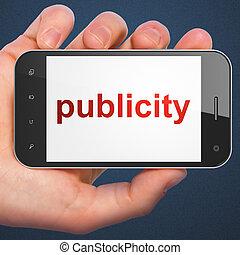 маркетинг, смартфон, публичность, concept: