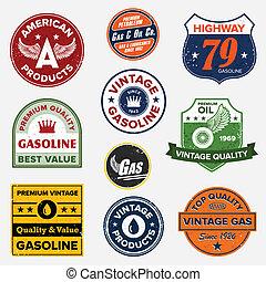 марочный, газ, ретро, знаки