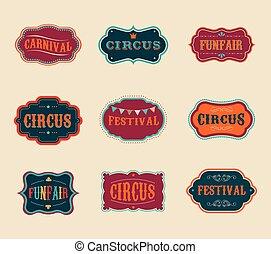 марочный, задавать, labels, цирк