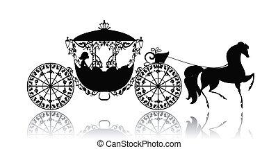 марочный, лошадь, силуэт, перевозка