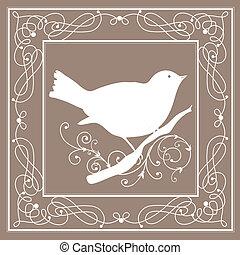 марочный, рамка, птица