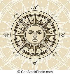 марочный, солнце, роза, компас