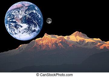 марс, земля, луна