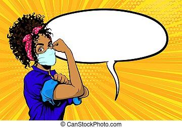 маска, это, медицинская, черный, женщина, мы, можно, африканец