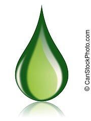 масло, топливо, значок, падение, зеленый, био