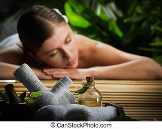 масло, фрагмент, молодой, женщина, environment., массаж, спа, красивая