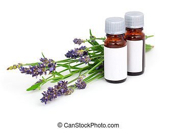 масло, цветок, лаванда, isolated, ароматерапия, задний план, белый