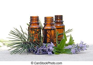 масло, bottles, лаванда, сосна, аромат, мята