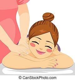 массаж, женщина, спа