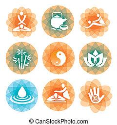 массаж, спа, symbols, backgrounds