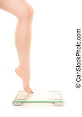 масштаб, женщина, fearing, вес, нога
