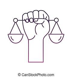 масштаб, значок, lifting, баланс, стиль, линия, рука