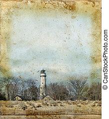 маяк, гранж, задний план