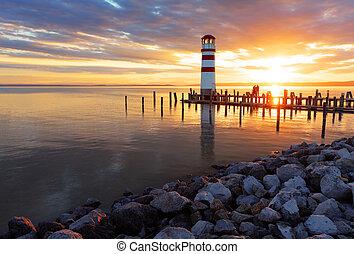 маяк, закат солнца, океан