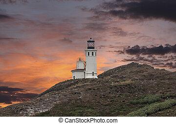 маяк, остров, национальный, парк, anacapa, islands, закат солнца, канал