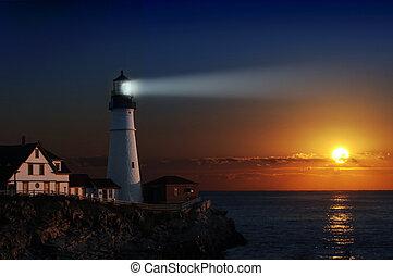 маяк, рассвет