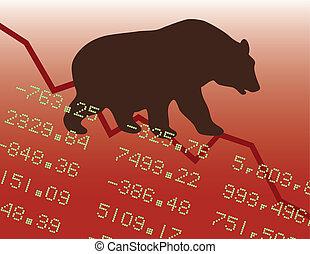 медведь, рынок, красный