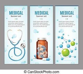 медицинская, вектор, баннер, set., вертикальный