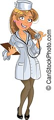 медицинская, девушка, phonendoscope