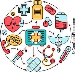 медицинская, концепция, icons
