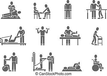 медицинская, силуэт, вектор, люди, черный, физическая, терапия, icons, лечение, реабилитация