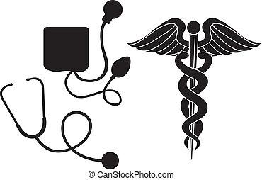 медицинская, силуэт, знак