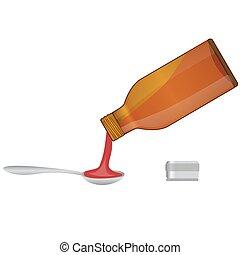 медицинская, poured, сироп, ложка, бутылка