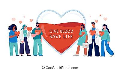 медицинская, -, professionals, задний план, группа, пожертвование, красный, дизайн, сердце, кровь, концепция