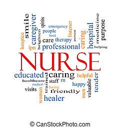 медсестра, концепция, слово, облако