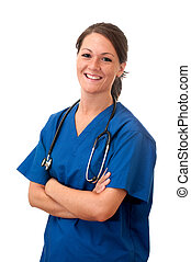 медсестра, стетоскоп, isolated, женский пол