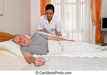 медсестра, aged, забота