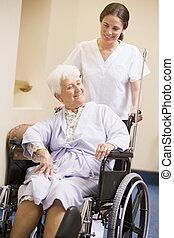 медсестра, pushing, инвалидная коляска, женщина
