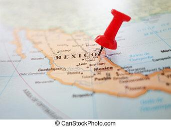 мексика, карта, штырь