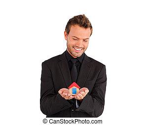 менеджер, дом, бизнес, мужской, молодой, presenting, solution