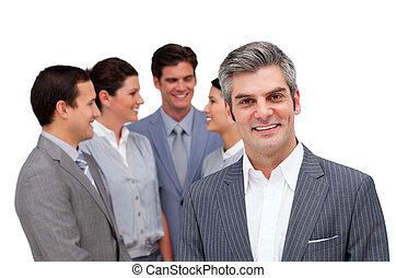 менеджер, зрелый, команда, постоянный, his