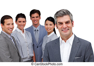 менеджер, команда, улыбается, постоянный, his
