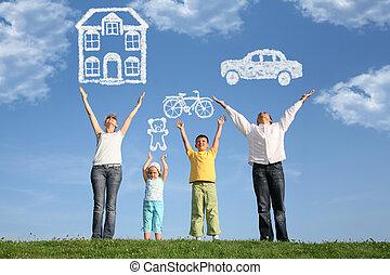мечта, семья, коллаж, вверх, 4, руки, трава