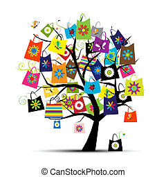 мешки, дизайн, поход по магазинам, ваш, дерево
